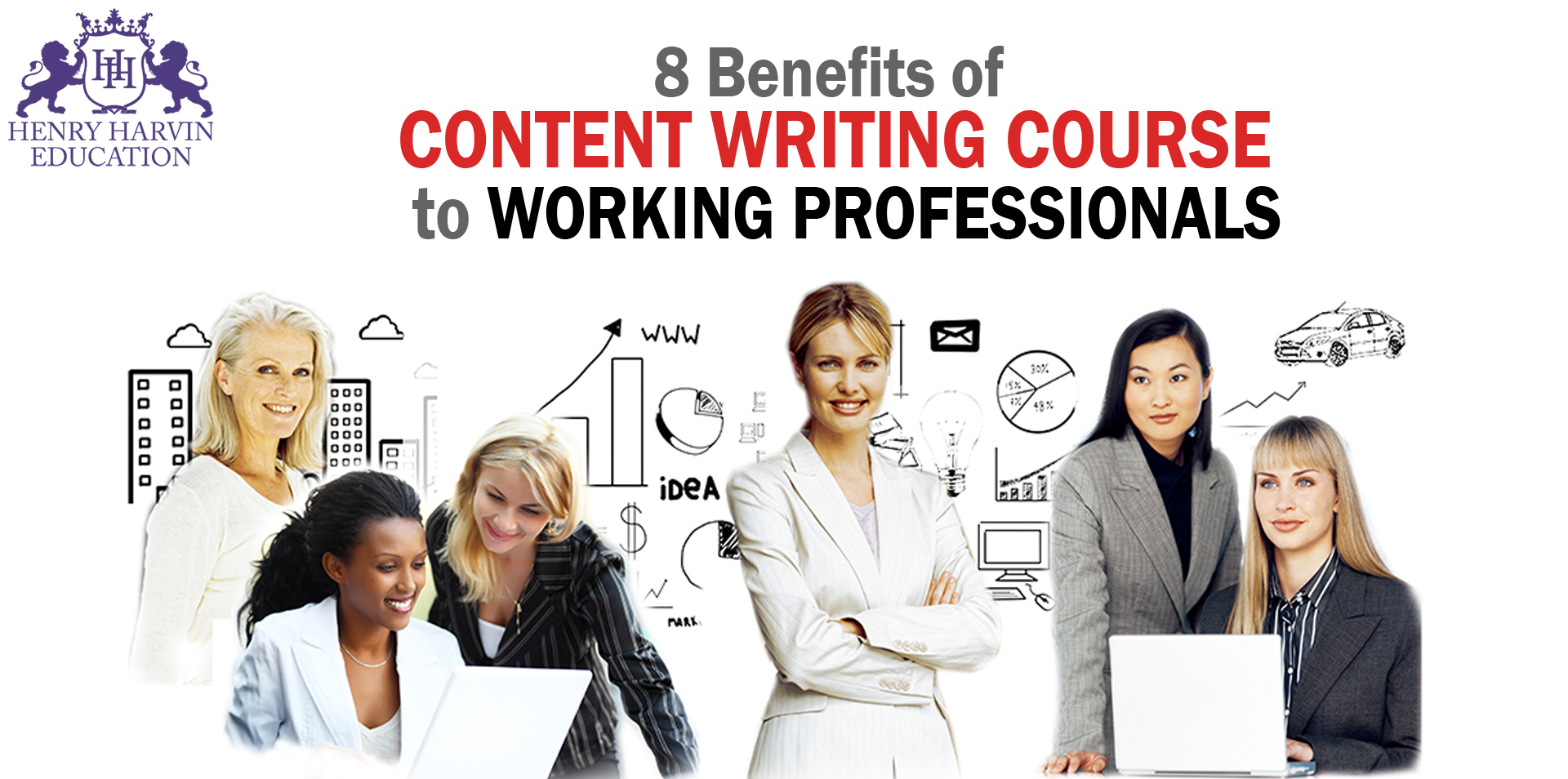 Professionals working happily and looking forward   8 Benefits of Content Writing Course to Working Professionals
